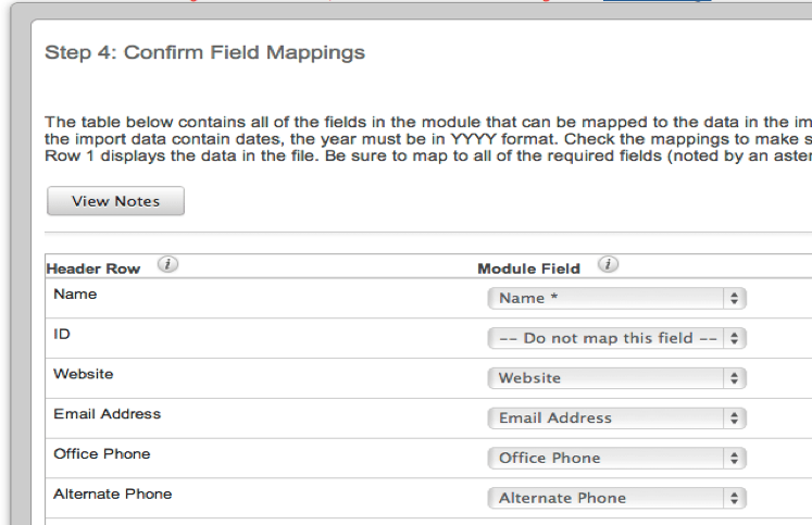 Screenshot of SugarCRM Mapping Data Import